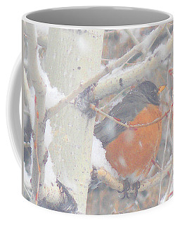 Robin In April Snow Coffee Mug by Anastasia Savage Ealy