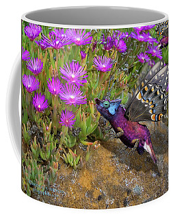 Coffee Mug featuring the digital art Rock Flower Birguana Fly by Arthur Fix