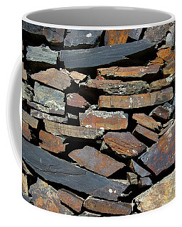 Coffee Mug featuring the photograph Rock Wall Of Slate by Bill Gabbert