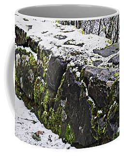 Rock Wall With Moss And A Dusting Of Snow Art Prints Coffee Mug by Valerie Garner