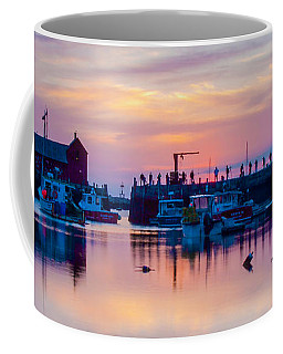 Coffee Mug featuring the photograph Rockport Harbor Sunrise Over Motif #1 by Jeff Folger