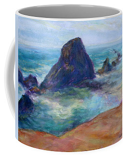 Rocks Heading North - Scenic Landscape Seascape Painting Coffee Mug