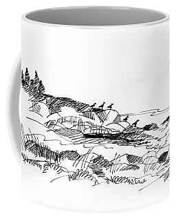 Coffee Mug featuring the drawing Rocky Beach Monhegan 1998 by Richard Wambach
