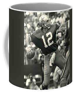 Roger Staubach Vintage Nfl Poster Coffee Mug by Gianfranco Weiss