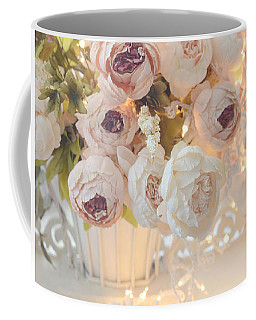 Romantic Shabby Chic Dreamy Pink And White Peonies - Shabby Chic Peonies In Basket Coffee Mug