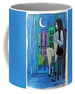 Coffee Mug featuring the painting Romantic Woman At Balcony by Don Pedro De Gracia