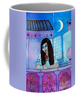 Romantic Woman In The Terrace At Night Coffee Mug