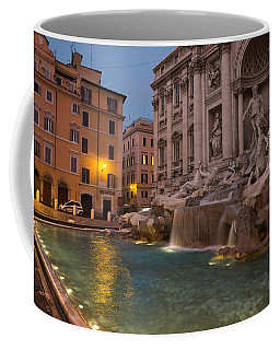 Rome's Fabulous Fountains - Trevi Fountain At Dawn Coffee Mug by Georgia Mizuleva
