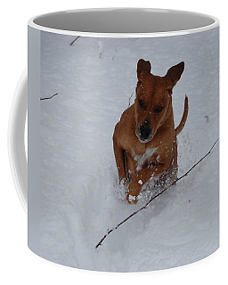 Coffee Mug featuring the photograph Romp In The Snow by Mim White