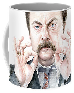 Ron Swanson Mustache Portrait Coffee Mug