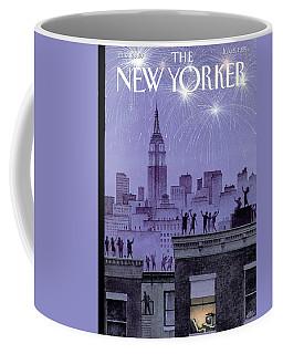 Rooftop Revelers Celebrate New Year's Eve Coffee Mug