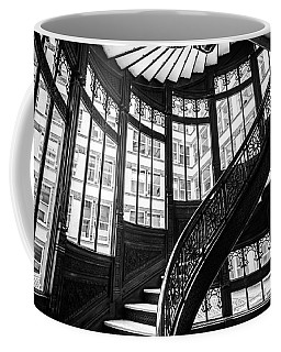 Rookery Building Winding Staircase And Windows - Black And White Coffee Mug
