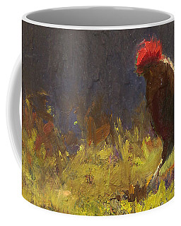 Rooster Strut - Impressionistic Chicken Landscape - Abstract Farm Art - Chicken Art - Farm Decor Coffee Mug