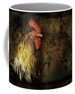 Coffee Mug featuring the mixed media Rooster With Brush Calligraphy Loyalty by Peter v Quenter