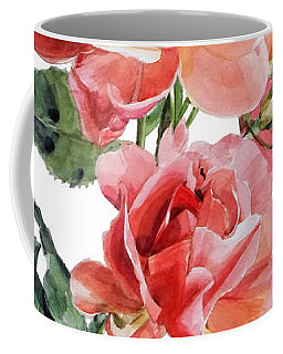 Watercolor Of Red Roses On A Stem I Call Rose Maurice Corens Coffee Mug