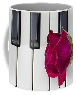 Rose Over Piano Keys Coffee Mug