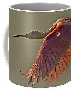 Coffee Mug featuring the photograph Roseate Spoonbill In Flight-signed by J L Woody Wooden