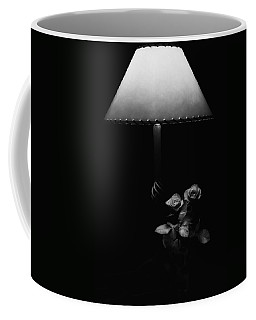 Coffee Mug featuring the photograph Roses By Lamplight Bw by Ron White