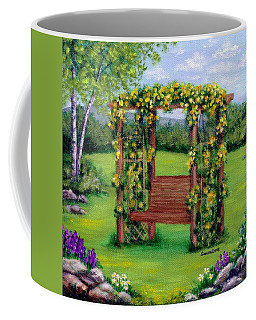 Coffee Mug featuring the painting Roses On The Arbor Swing by Sandra Estes