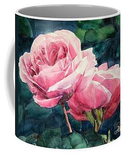 Watercolor Of Two Luscious Pink Roses Coffee Mug
