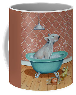 Coffee Mug featuring the painting Rosie In The Bliss Bubbles by Cynthia House
