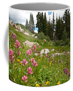 Coffee Mug featuring the photograph Rosy Paintbrush And Trees by Cascade Colors