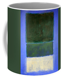 Rothko's No. 14 -- White And Greens In Blue Coffee Mug