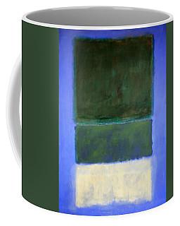 Rothko's No. 14 -- White And Greens In Blue Coffee Mug by Cora Wandel