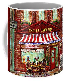 Rotisserie Le Chalet Bbq Restaurant Paintings Storefronts Street Scenes Diners Montreal Art Cspandau Coffee Mug
