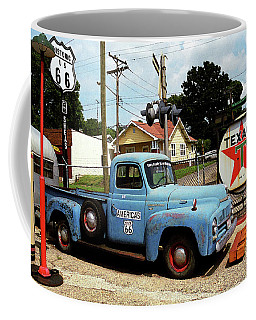 Route 66 - Gas Station With Watercolor Effect Coffee Mug