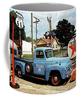 Route 66 - Gas Station With Watercolor Effect Coffee Mug by Frank Romeo
