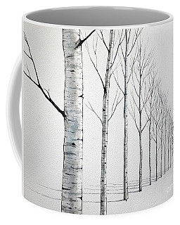 Row Of Birch Trees In The Snow Coffee Mug