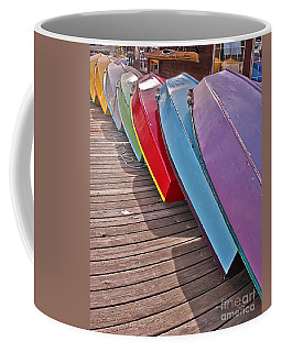Row Of Colorful Boats Art Prints Coffee Mug by Valerie Garner