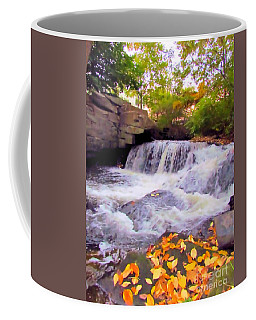 Royal River White Waterfall Coffee Mug by Elizabeth Dow
