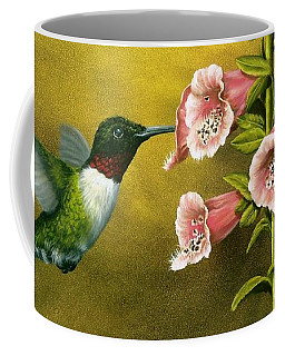 Ruby Throated Hummingbird And Foxglove Coffee Mug
