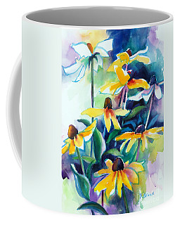 Coffee Mug featuring the painting Rudbecki And Teal by Kathy Braud