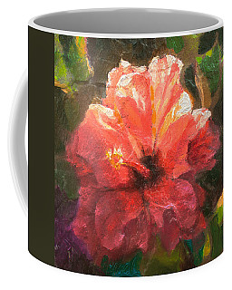 Ruffled Light Double Hibiscus Flower Coffee Mug