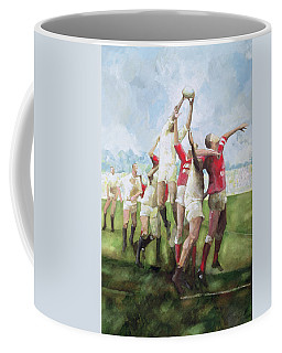 Rugby Match Llanelli V Swansea, Line Out Coffee Mug
