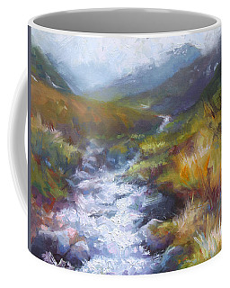 Coffee Mug featuring the painting Running Down - Landscape View From Hatcher Pass by Talya Johnson