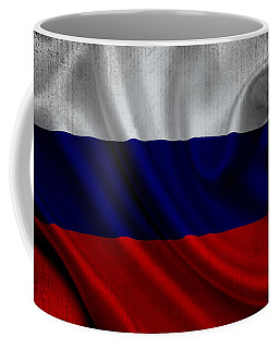 Russian Flag Waving On Canvas Coffee Mug by Eti Reid