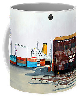 Rustic Schnitzer Steel Building And Ship Coffee Mug