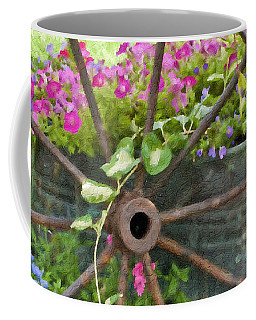 Coffee Mug featuring the photograph Rustic Wheel Digital Artwork by Sandra Foster