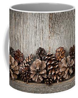 Rustic Wood With Pine Cones Coffee Mug