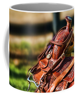 Coffee Mug featuring the photograph Saddle In Waiting Western Saddle Horse by Eleanor Abramson
