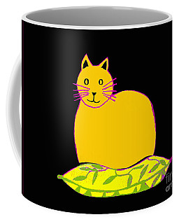Saffron Cat On Black Coffee Mug