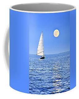 Sailboat At Full Moon Coffee Mug