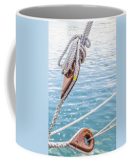Coffee Mug featuring the photograph Sailboat Deadeyes 1 by Leigh Anne Meeks