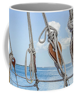 Coffee Mug featuring the photograph Sailboat Deadeyes 2 by Leigh Anne Meeks