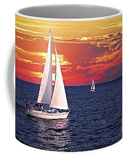 Sailboats At Sunset Coffee Mug