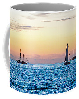 Sailboats At Sunset Off Key West Florida Coffee Mug by Photographic Arts And Design Studio